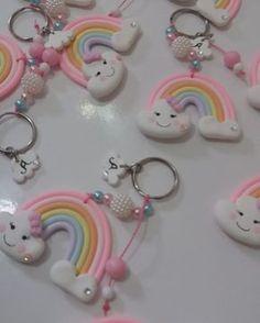 Rainbow First Birthday, Rainbow Baby, Baby Birthday, Fun Crafts For Kids, Diy For Kids, Diy And Crafts, Clay Keychain, Keychains, Cute Polymer Clay
