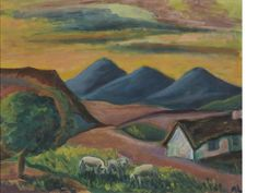 View Karoo landscape with sheep by Maggie Maria Magdalena Laubser on artnet. Browse upcoming and past auction lots by Maggie Maria Magdalena Laubser. Grandma Moses, Simple Art, Easy Art, South African Artists, Old Master, Sheep, Past, Expressionism, Painters