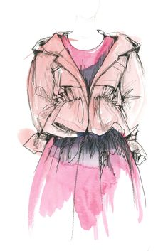 Jil Sander / No particular week but good inspiration for layering watercolour, pencil and fineliner! Delicate transparent wash of colour with tone indicated in pencil and details with pen.