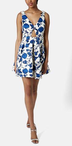 Pairing this floral print dress with a leather jacket and strappy sandals for girls' night out | Topshop cutout rose print dress.