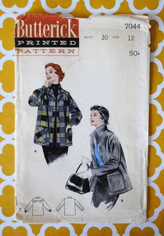 Uncut Vintage 1950s Misses Man Tailored Yoked Collar Button Cuff Sleeves Pockets Box Jacket Size 12 Bust 30 Sewing Pattern Butterick 7044
