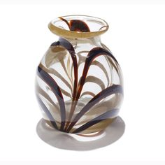 Dominick Labino American studio glass vase with swirling color pattern.