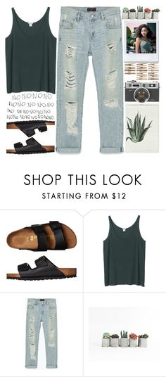"""no"" by hanadarkos ❤ liked on Polyvore featuring Birkenstock, Monki and Zara"