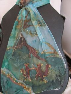 silk scarf handpainted music and dance / Silk chiffon painted forest/ Silk scarf handpainted autumn animals by Karinasvintage on Etsy