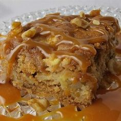 Fresh Apple Walnut Cake - Allrecipes.com JAN 2. Used Crisp Apples and Granny Smith, followed rest of recipe as is. The recipe doesn't instruct so that finish product has the caramel sauce shown in this pic. Cake very moist and full of good apple flavor. A bit too much sugar..next time I will take out 1/4 cup and see if it affects the flavor