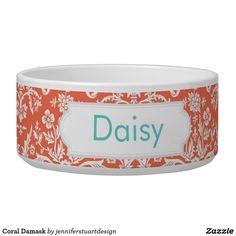 Coral Damask Bowl