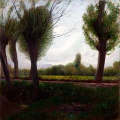 Pellizza Volpedo Landscape (at the lawn Pissone) 1904 Oil on canvas, x cm Piedmont Region, Northern Italy, Color Theory, Impressionist, Oil On Canvas, Lawn, Most Beautiful, Fine Art, Plants