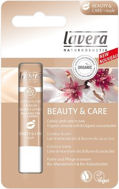 Lavera Lip balm Beauty & Care Nude Organic almond milk & Organic Cocoa butter. Colour and care in one. Lavera Beauty & Care Lip Balm combines colour and care in one product. Its unique formula with a touch of nude provides the lips with care, thereby protecting them against drying out. For naturally beautiful and soft lips. Made with Organic Ingredients. NATRUE Certified. Vegan.