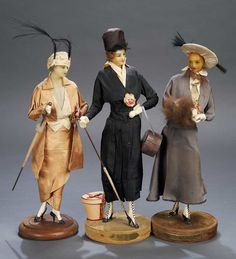 A Trio of French Wax Fashion Dolls Lafitte Desirat - Theriault's Antique Doll Auctions