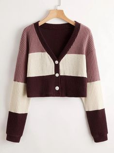 Colorblock Button Front CardiganCheck out this Colorblock Button Front Cardigan on Romwe and explore more to meet your fashion needs! Romwe, Short Sleeve Tee, Color Blocking, Fashion News, Sweater Cardigan, Buttons, Crop Tops, Sweaters, Shopping