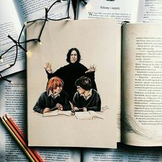 Severus Snape, Ron Weasley and Harry Potter. Fanart Harry Potter, Harry Potter Artwork, Harry Potter Drawings, Harry Potter Wallpaper, Harry Potter Fandom, Harry Potter Universal, Harry Potter Memes, Harry Potter World, Always Harry Potter