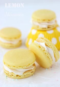 Lemon Macarons ~  Spring is in the air! Celebrate with these tender lemon macarons- they are sweet, tangy and vibrant to excite the air of SPRING!