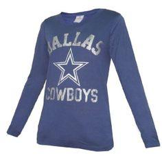 WOMENS Pink Victoria's Secret NFL Dallas Cowboys Slim Fit Crew-Neck Long Sleeve T Shirt - Dark Blue (Size: M)