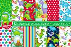 Dinosaur Digital Papers, Patterns, Scrapbook Papers