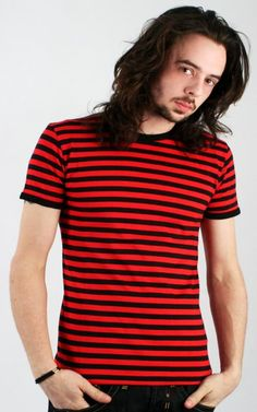 Black and Red Striped Tee ~Emo