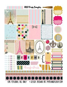Free Printable Paris Sampler Planner Stickers   {PDF, JPG and Studio3.  For The Happy Planner and Erin Condren} from myplannerenvy.com