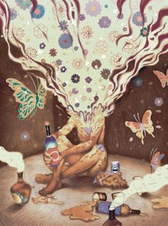 drunk art trippy drugs dream imagine acid psychedelic trip colors colorful…