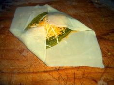 Chili Rellenos made with Egg Roll Wrappers.   Definitely going to try this! Sans Cheese of course.