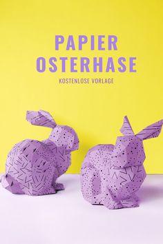 Easter bunny deko aus Papier (kostenlose Vorlage). Ich finde das geometrische Muster total cool - erinnert an Origami. PaperShape #osterhase #osterdeko #papercraft #diy