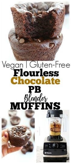 gluten-free, vegan, and no bananas in these Flourless Chocolate Peanut Butter Blender Muffins Recipe. Healthy dessert, breakfast, or snack idea. Paleo friendly too via @Maryea Flaherty