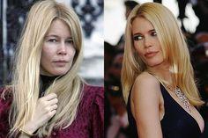 Famosas con y sin maquillaje Claudia Schiffer. A sus 42 años es como la noche y el día. www.husmeandoporlared.com