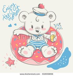 Cute little bear swimming with ring cartoon hand drawn vector illustration. Can be used for baby t-shirt print, fashion print design, kids wear, baby shower celebration greeting and invitation card.