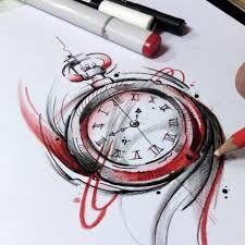 Картинки по запросу тату часы эскиз