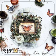 Mossy project for Finnabair by Kasia Bogatko: Art alchemy paints, art alchemy waxes Altered Canvas, Altered Art, Mixed Media Canvas, Mixed Media Art, Canvas Collage, Scrapbook Paper Crafts, Scrapbooking, Scrapbook Layouts, Paper Butterflies