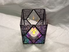 Beautiful+purple+stained+glass+candle+holder+with+by+HamptonsWorks,+$40.00
