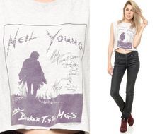NEIL YOUNG Shirt 90s Grey Tank Top Grunge 1990s Rock by ShopExile,
