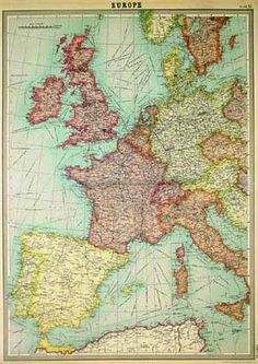 Vintage world map maps giant poster print 55x39 college giant specialty papers vintage european map gumiabroncs Gallery