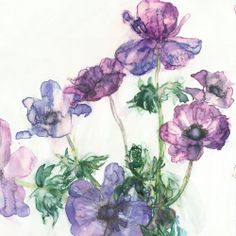 Anemones, Blue Flowers, Floral Wreath, Canvas Art, Greeting Cards, Wreaths, Purple, Gallery, Prints
