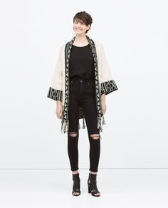 JACQUARD JACKET WITH FRINGED HEM-Knitwear-WOMAN | ZARA United States