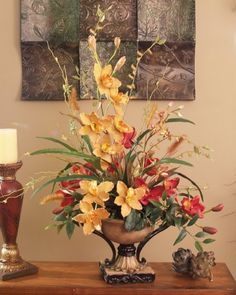 Red and Gold Cymbidium Silk Orchid Arrangement - A great value and gift idea for a special occasion! Red and gold cymbidium orchids with grasses are featured in a beautiful pedestal bowl with handles and set on a base. Artificial Floral Arrangements, Silk Floral Arrangements, Beautiful Flower Arrangements, Most Beautiful Flowers, Peony Arrangement, Fake Flowers, Artificial Flowers, Silk Flowers, Ikebana
