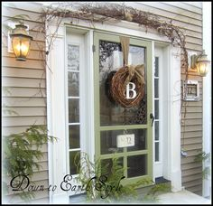 Wreath for front door with burlap garland from Michaels