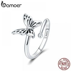 Genuine Sterling Silver Vintage Butterfly Adjustable Finger Rings for 925 Sterling Silver Ring, Fits to all Pandora Jewelry Diy, Butterfly Ring, Vintage Butterfly, Butterfly Shape, Butterfly Jewelry, Pandora Jewelry, Jewelry Rings, Silver Jewelry, Gold Jewellery, Jewelry Art
