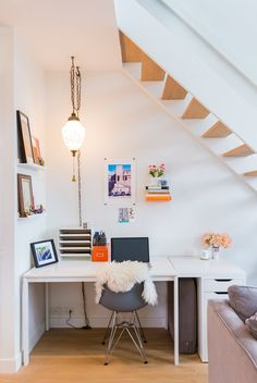 Desk Under Stairs cool workspace under the stairs (via boligliv) (my ideal home