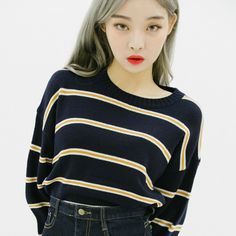 Striped Round Neck Loose Fit Sweater   mixxmix   Shop Korean fashion casual style clothing, bag, shoes, acc and jewelry for all