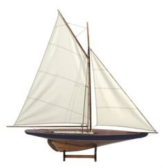 """Blue Green 43"""" Sail Model 1901 Pond Yacht - Nautical Decor. Length: 42.90"""" x Width: 6.3"""" x Height: 42.50""""    Actual weight 3 lbs. Built plank-on-frame. Hull is painted blue green.    Sail models take us back to those beach and country park outings from our youth. This classic pond yacht showcases an era when children grew up with real, hands-on objects to play with and learn from.    In our day and age, they represent a bygone era and are beloved as decor in beach cabins and homes…"""