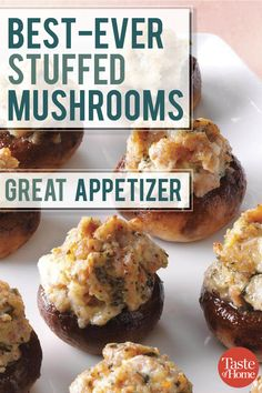 Stuffed Mushrooms Bring out a platter of these stuffed mushrooms at your holiday party to impress your guests.Bring out a platter of these stuffed mushrooms at your holiday party to impress your guests. Christmas Appetizers, Appetizers For Party, Appetizer Recipes, Appetizer Sandwiches, Healthy Party Snacks, Crab Appetizer, Steak Sandwiches, Dinner Healthy, Burger Recipes