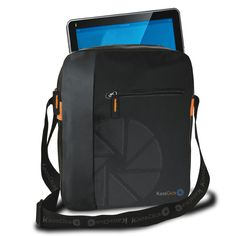 KAOS CLICK NON-STOP: Shoulder iPad case - Material: Nylon with faux leather inserts - Size: 21.5 x 25 x 4 cm