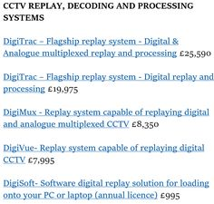 CCTV Replay, Decoding and Processing Systems, all tailored to your needs. http://www.clearview-communications.com/law-enforcement/cctv-players-decoders/digitrac-decoding-hardware