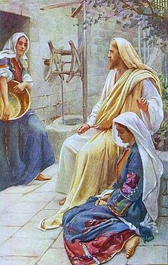 Saint Martha - Martha on the left, Jesus at the house of Mary and Martha… Bible Pictures, Jesus Pictures, Bible Photos, Catholic Saints, Patron Saints, Saint Martha, Jesus E Maria, Gospel Of Luke, Today's Gospel
