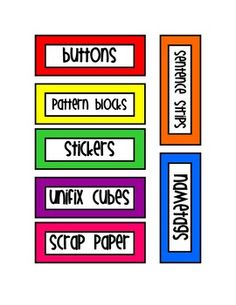 Primary Color Classroom Labels