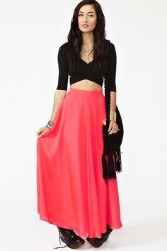 neon silk maxi skirt-nasty gal
