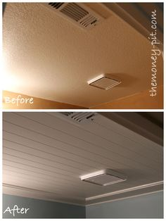 Installing a Beadboard Ceiling: Cover up those popcorn or textured ceilings! Flat Screen, Camper, Caravan, Mobile Homes, Motorhome, Camper Van, Camper Shells