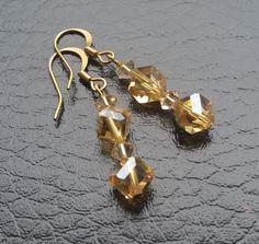 Amber Crystal Earrings by BabaJewelryandBeads on Etsy