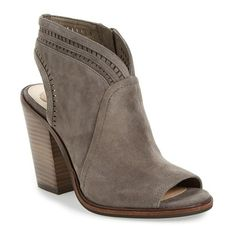 Women's Vince Camuto 'Koral' Perforated Open Toe Bootie ($150) ❤ liked on Polyvore featuring shoes, boots, ankle booties, greystone suede, vince camuto booties, block heel booties, ankle boots, vince camuto bootie and vince camuto boots