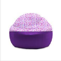 Kids Bean Bag Chair  Heart and Polka Dot Pattern Bean Bag