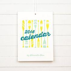 2014 Calendar  Illustrated Wall or Desk Calendar by SilhouetteBlue